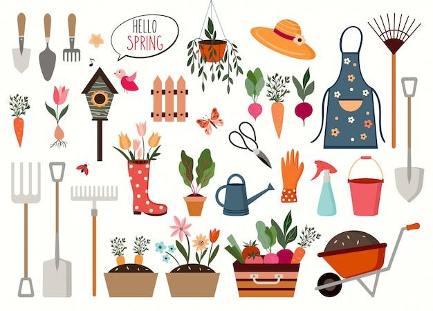 Frühlingskollektion mit verschiedenen gartenelementen