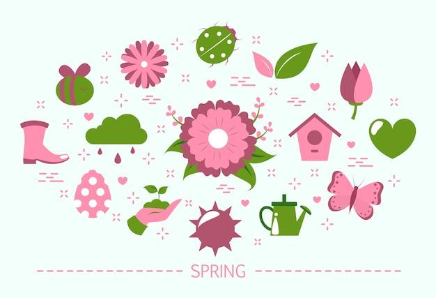 Frühlingskonzept. blumensaison. web-banner-zusammenfassung