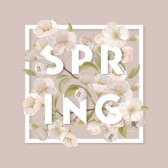 Frühlingskonzept. weiß blühende kirschblüten mit blättern und zweigen im quadratischen rahmen auf beigem hintergrund. elegantes poster, dekorative banner-flyer-broschüre. flache vektorillustration der karikatur