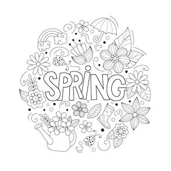 Frühlingskritzeleien im cartoon-stil linie kunst detaillierte komposition