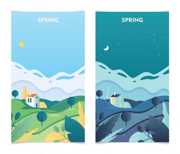 Frühlingslandschaft bei tag und nacht. frühlingssaison-banner setzen schablonenillustration