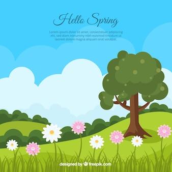 Frühlingslandschaft hintergrund mit baum und gänseblümchen