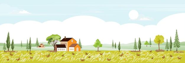 Frühlingslandschaft im dorf, illustration ländliche landschaft im land mit bauernhaus, dorfszenenlandpanoramaansicht auf sonnigem sommer