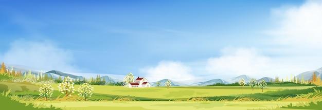 Frühlingslandschaft in der landschaft mit bauernhaus, grüner wiese auf hügeln, blauem himmel und wolken.