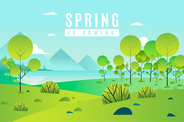 Frühlingslandschaft mit bäumen und grün
