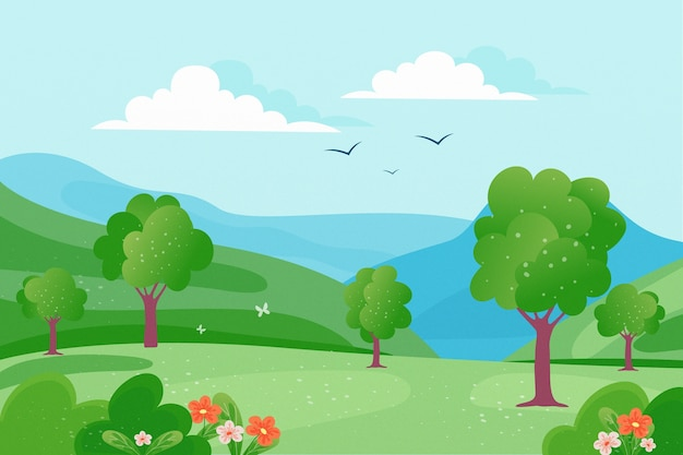 Frühlingslandschaft mit bäumen und vögeln im himmel