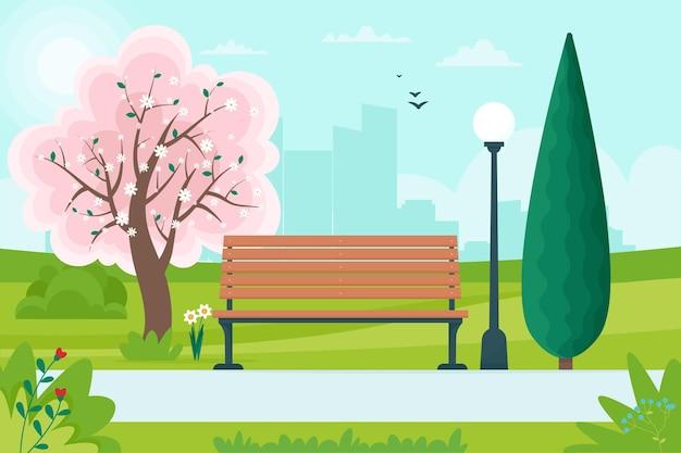 Frühlingslandschaft mit bank im park und einem blühenden baum. illustration im flachen stil