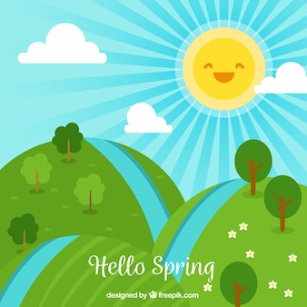 Frühlingslandschaft mit lachender sonne