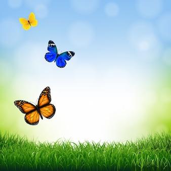 Frühlingslandschaft mit schmetterling mit farbverlaufsnetz, illustration