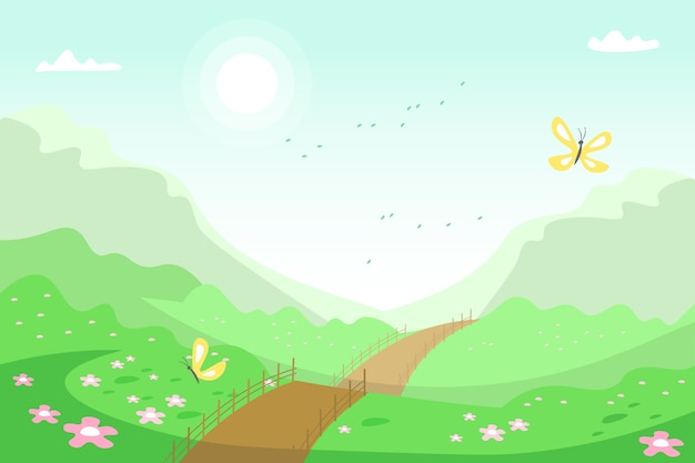 Frühlingslandschaft mit straße und natur