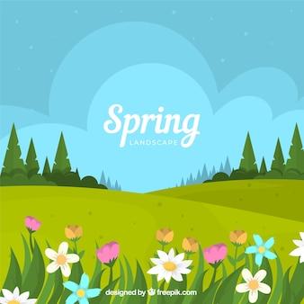 Frühlingslandschaftshintergrund in der flachen art