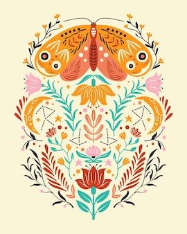 Frühlingsmotive im volkskunststil. bunte wohnung mit motte, blumen, floralen elementen und mond.