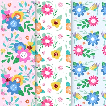 Frühlingsmustersammlung im flachen design