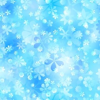 Frühlingsnahtloses muster aus verschiedenen blumen in hellblauen farben