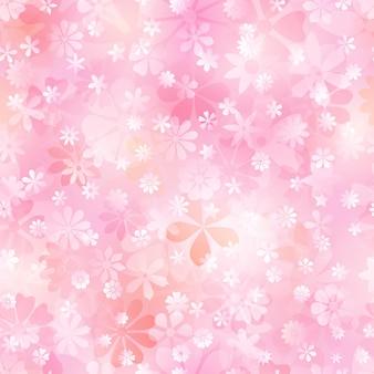 Frühlingsnahtloses muster aus verschiedenen blumen in rosa- und pfirsichfarben
