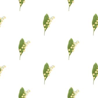 Frühlingsnatur nahtloses blumenmuster mit grünem und rosa maiglöckchenornament