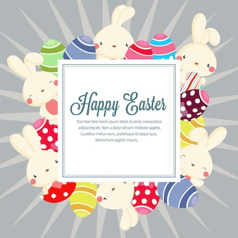 Frühlingsosternaturjahreszeit mit kaninchen und ei