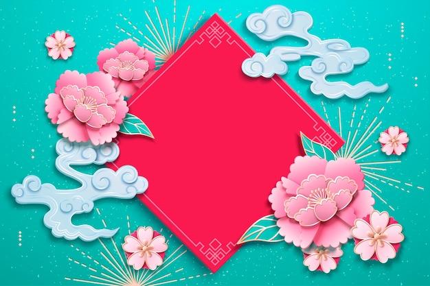 Frühlingspaar mit pfingstrosenblüten und wolken
