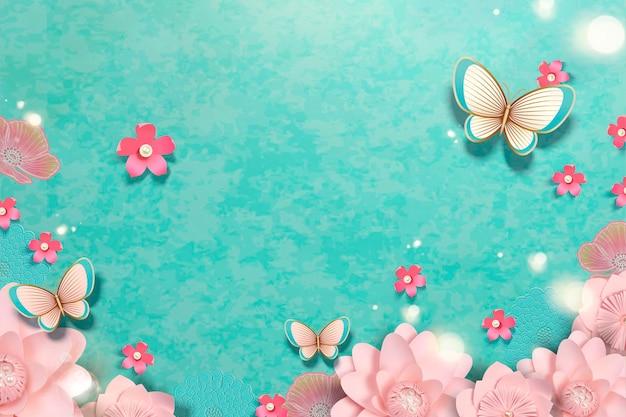Frühlingspapierblumengarten mit schmetterlingen auf blauem hintergrund