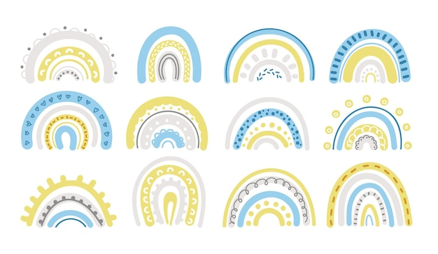 Frühlingspastellregenbogen im blauen und gelben clipart-satz