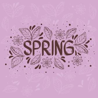 Frühlingssaison-beschriftungskarte mit blumenrahmen in lila hintergrundillustration