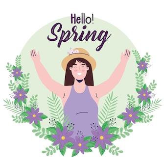 Frühlingssaison-beschriftungskarte mit frau in der blumenkranzillustration