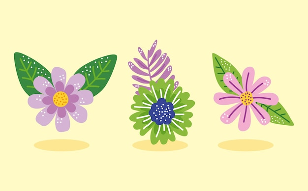 Frühlingssaison blüht drei sätze