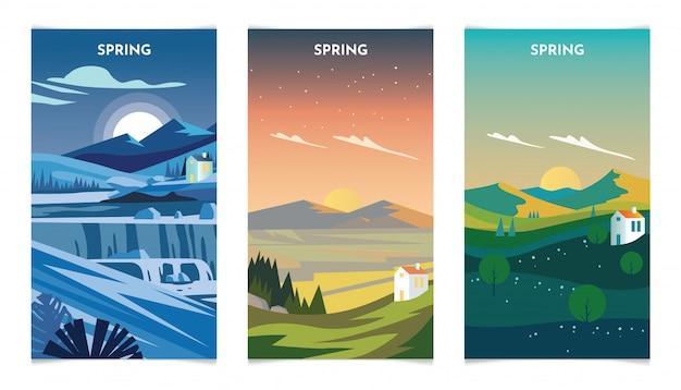 Frühlingssaison-landschaft am tag und nahe illustration