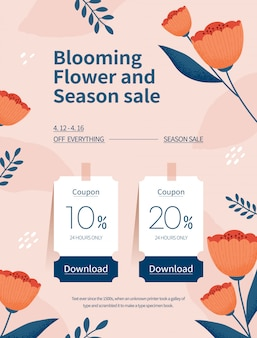 Frühlingssaison verkauf. coupon webseite der blumenillustration. blumenrahmenvektorillustration.