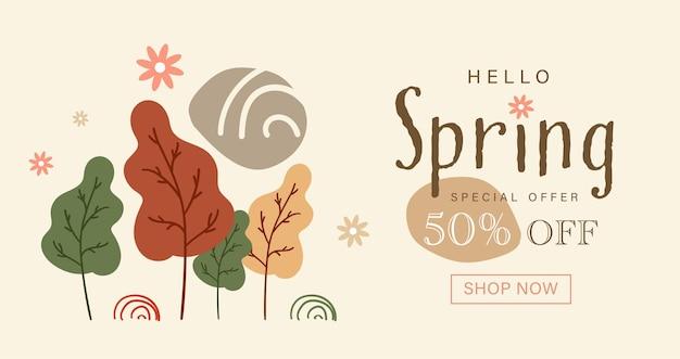 Frühlingssaisonkarte von hand gezeichneten niedlichen blumen.