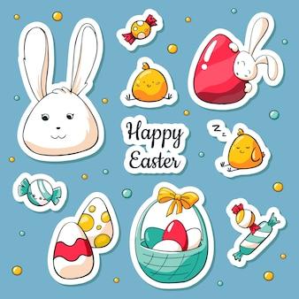 Frühlingssammlung glückliche ostern-symbole in der karikaturart
