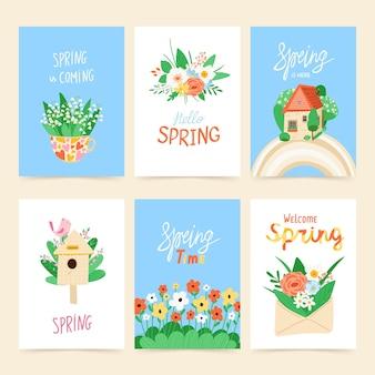 Frühlingssatz von illustrationen mit blumen, vogelhaus, haus, regenbogen und nachricht. designkonzept der ankunft des frühlings.