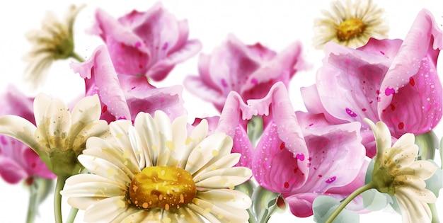 Frühlingssommerkarte blüht aquarell. gänseblümchen- und rosenblumendekor