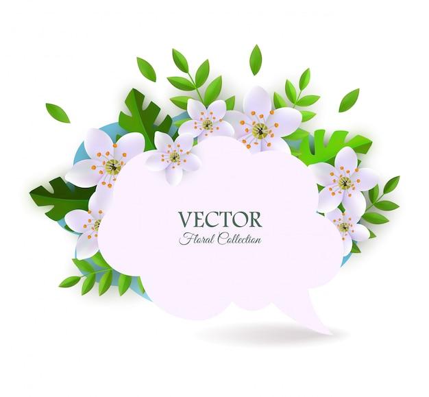 Frühlingsspracheblase mit rosa weißen blumen mit blättern