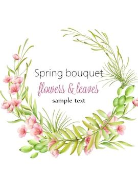 Frühlingsstraußkranz von kirschblütenblumen mit grünen blättern