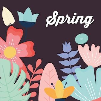 Frühlingstext und satz von blumen auf einem dunklen hintergrund