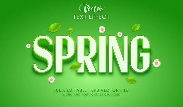 Frühlingstexteffektstil mit blättern