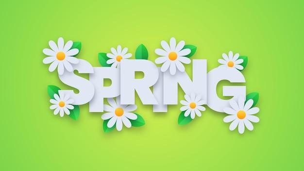 Frühlingstypografie mit blumen