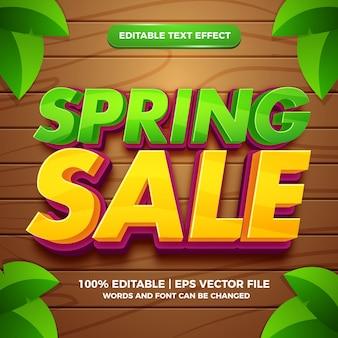 Frühlingsverkauf 3d bearbeitbarer texteffekt-vorlagenstil