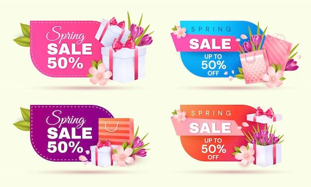 Frühlingsverkauf. banner setzen