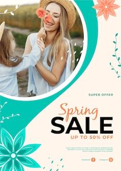 Frühlingsverkauf flyer vorlage stil
