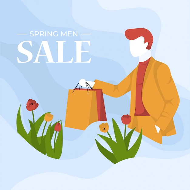 Frühlingsverkauf für bunte illustration der männer
