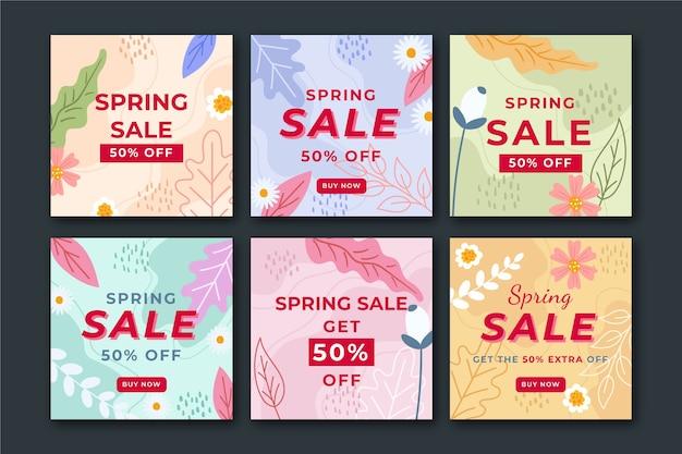 Frühlingsverkauf instagram beitragskonzeptsammlung