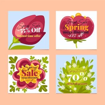 Frühlingsverkauf instagram beitragssammlung mit zusammenstellung von blumen