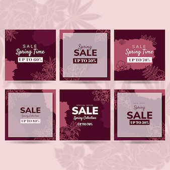 Frühlingsverkauf instagram beitragssammlungskonzept