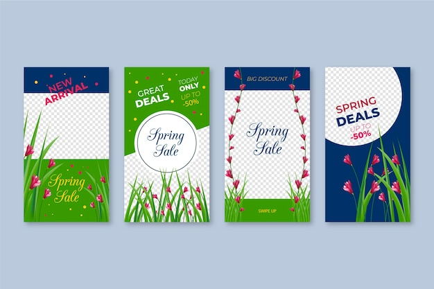 Frühlingsverkauf instagram geschichtenansammlung