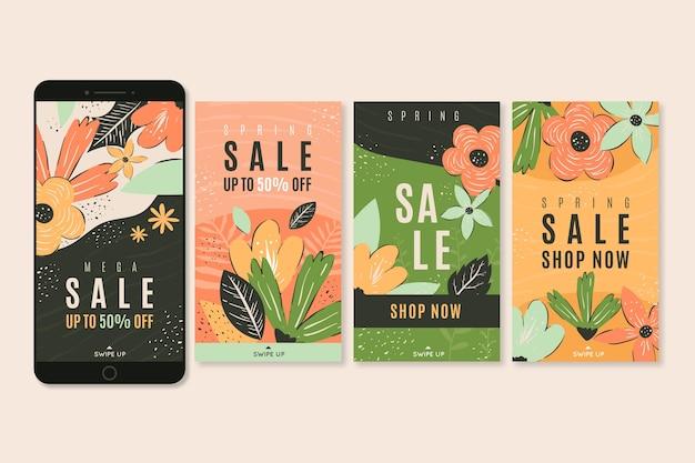 Frühlingsverkauf instagram geschichtensammlung mit blumen