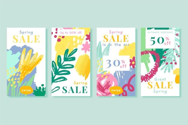 Frühlingsverkauf instagram geschichtensammlung mit hand gezeichneten blumen