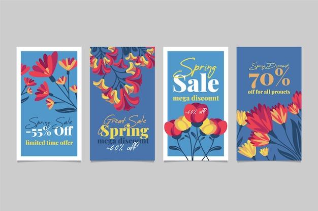 Frühlingsverkauf instagram geschichtensammlung mit tulpen