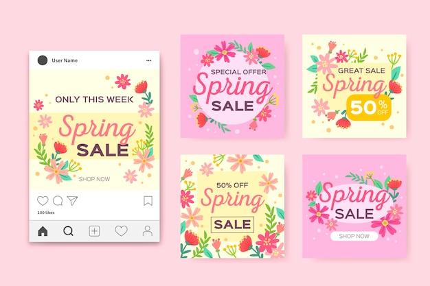 Frühlingsverkauf instagram pfosten eingestellt